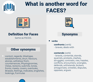Faces, synonym Faces, another word for Faces, words like Faces, thesaurus Faces