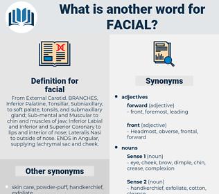 facial, synonym facial, another word for facial, words like facial, thesaurus facial