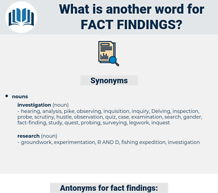fact findings, synonym fact findings, another word for fact findings, words like fact findings, thesaurus fact findings