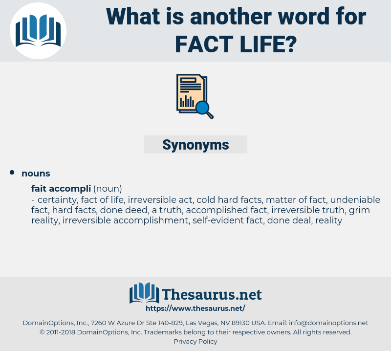fact life, synonym fact life, another word for fact life, words like fact life, thesaurus fact life