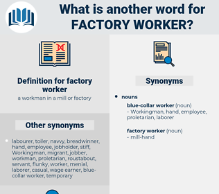 factory worker, synonym factory worker, another word for factory worker, words like factory worker, thesaurus factory worker