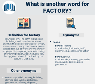 factory, synonym factory, another word for factory, words like factory, thesaurus factory