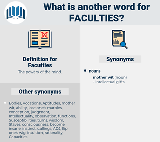 Faculties, synonym Faculties, another word for Faculties, words like Faculties, thesaurus Faculties