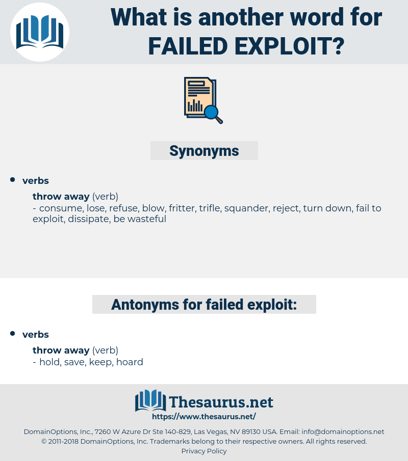 failed exploit, synonym failed exploit, another word for failed exploit, words like failed exploit, thesaurus failed exploit