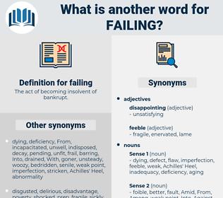 failing, synonym failing, another word for failing, words like failing, thesaurus failing