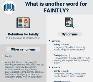 faintly, synonym faintly, another word for faintly, words like faintly, thesaurus faintly