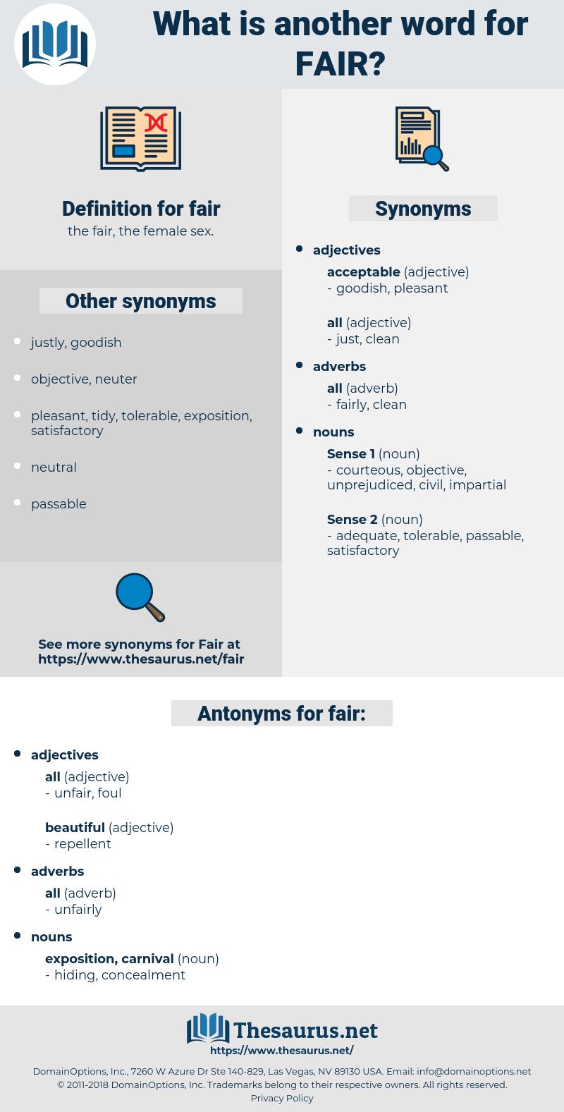 fair, synonym fair, another word for fair, words like fair, thesaurus fair