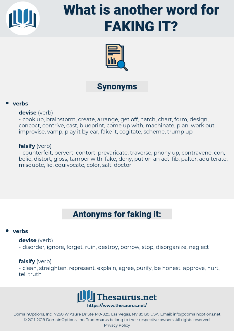 faking it, synonym faking it, another word for faking it, words like faking it, thesaurus faking it
