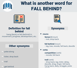 fall behind, synonym fall behind, another word for fall behind, words like fall behind, thesaurus fall behind