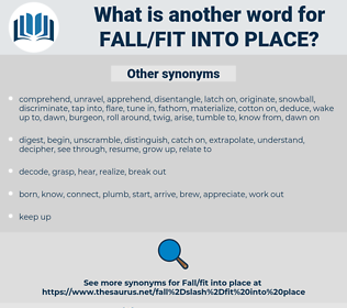 fall/fit into place, synonym fall/fit into place, another word for fall/fit into place, words like fall/fit into place, thesaurus fall/fit into place