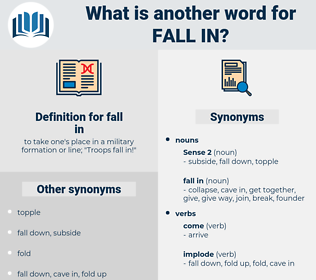 fall in, synonym fall in, another word for fall in, words like fall in, thesaurus fall in