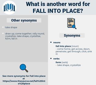 fall into place, synonym fall into place, another word for fall into place, words like fall into place, thesaurus fall into place