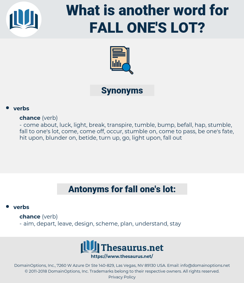 fall one's lot, synonym fall one's lot, another word for fall one's lot, words like fall one's lot, thesaurus fall one's lot