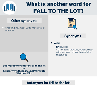 fall to the lot, synonym fall to the lot, another word for fall to the lot, words like fall to the lot, thesaurus fall to the lot