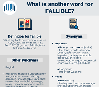 fallible, synonym fallible, another word for fallible, words like fallible, thesaurus fallible