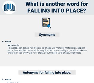 falling into place, synonym falling into place, another word for falling into place, words like falling into place, thesaurus falling into place