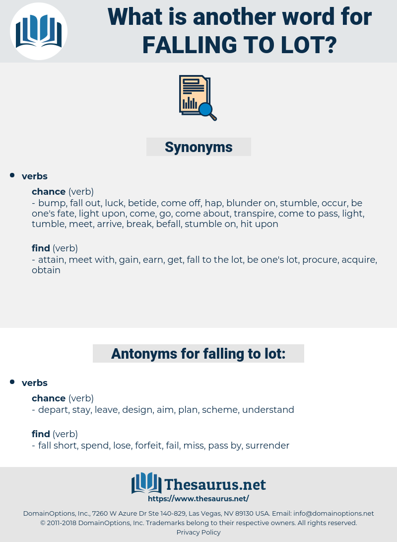 falling to lot, synonym falling to lot, another word for falling to lot, words like falling to lot, thesaurus falling to lot