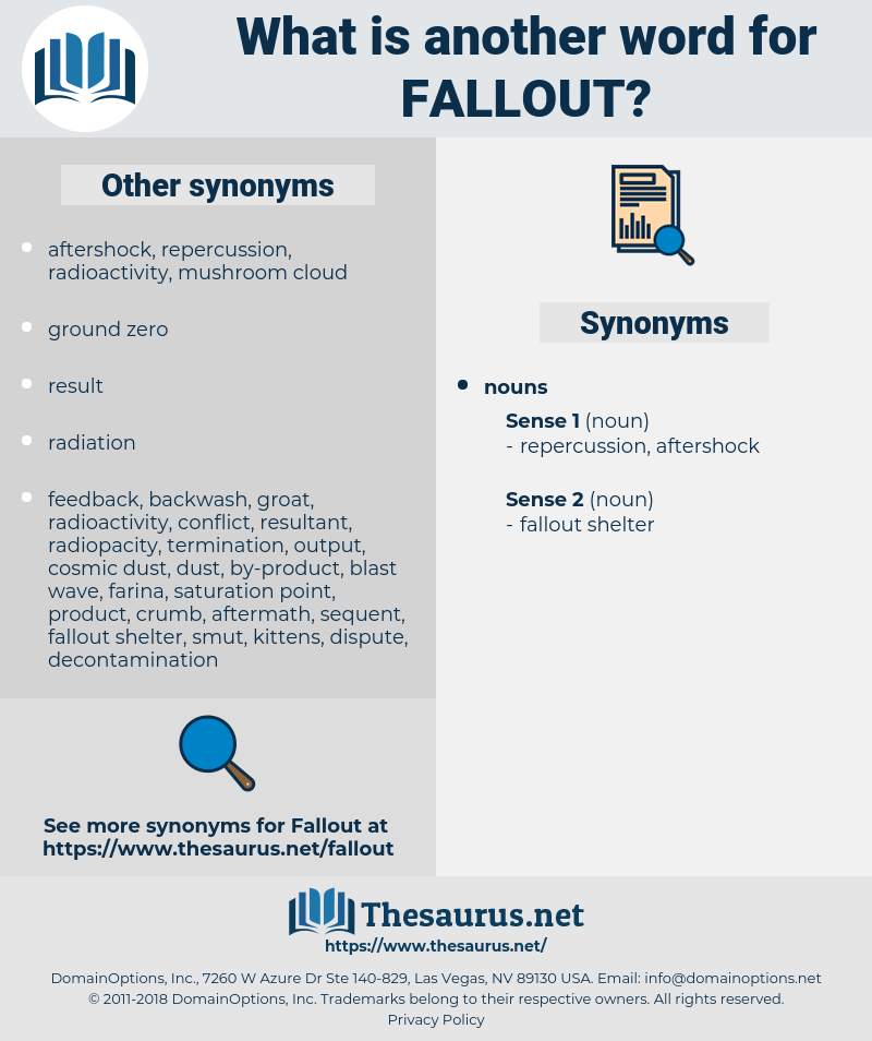 fallout, synonym fallout, another word for fallout, words like fallout, thesaurus fallout