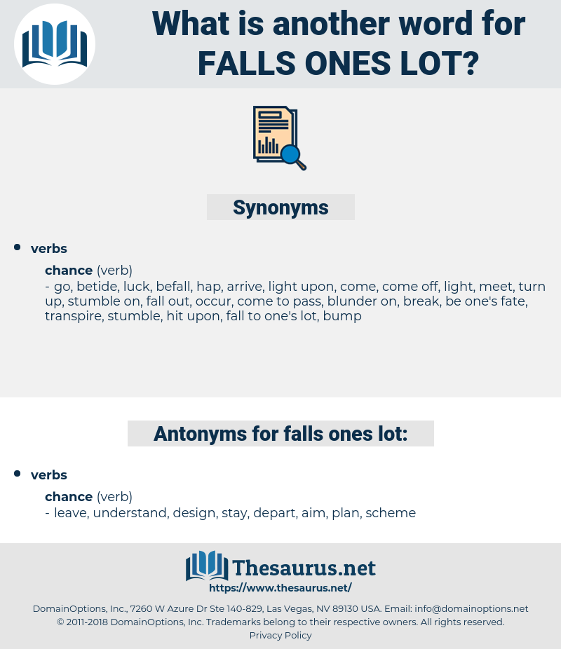 falls ones lot, synonym falls ones lot, another word for falls ones lot, words like falls ones lot, thesaurus falls ones lot