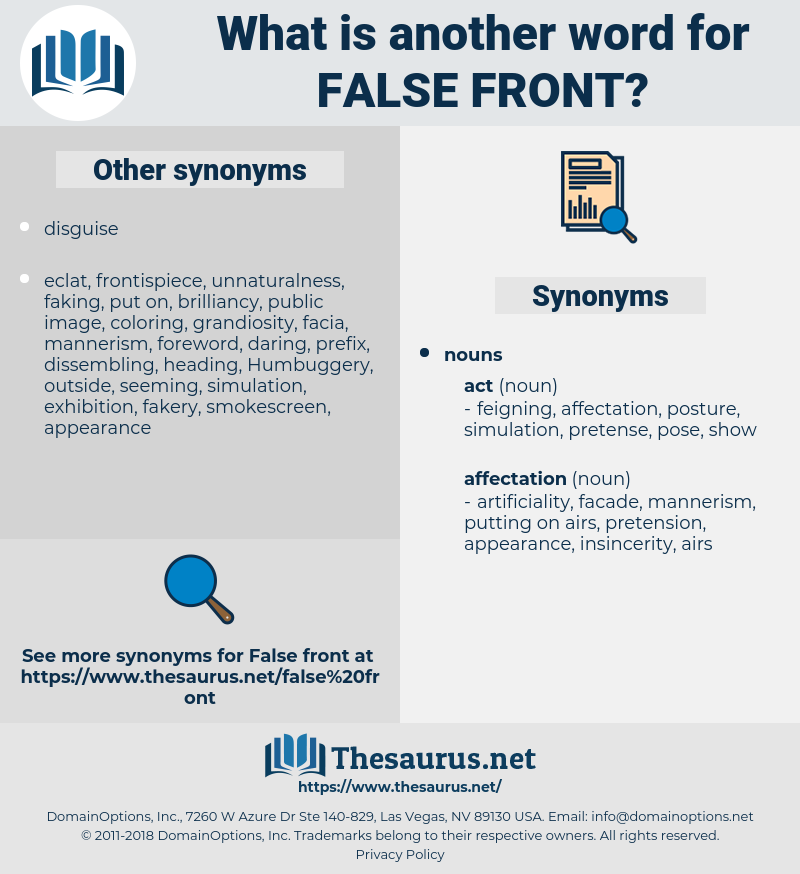 false front, synonym false front, another word for false front, words like false front, thesaurus false front