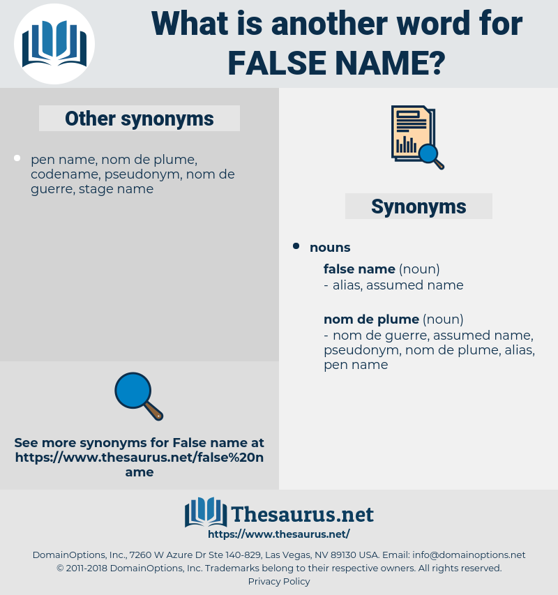 false name, synonym false name, another word for false name, words like false name, thesaurus false name