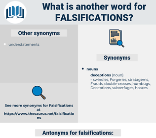 falsifications, synonym falsifications, another word for falsifications, words like falsifications, thesaurus falsifications