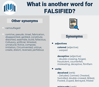 Falsified, synonym Falsified, another word for Falsified, words like Falsified, thesaurus Falsified