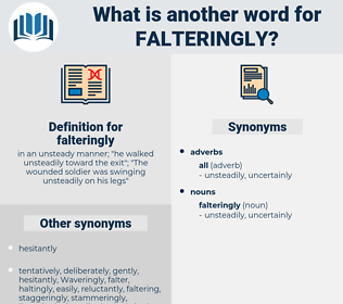 falteringly, synonym falteringly, another word for falteringly, words like falteringly, thesaurus falteringly