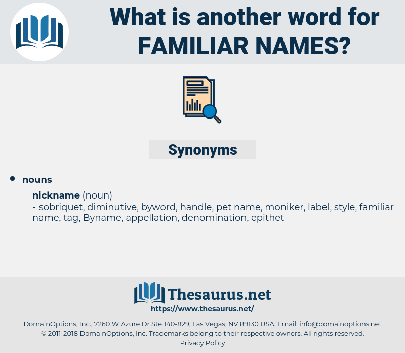 familiar names, synonym familiar names, another word for familiar names, words like familiar names, thesaurus familiar names