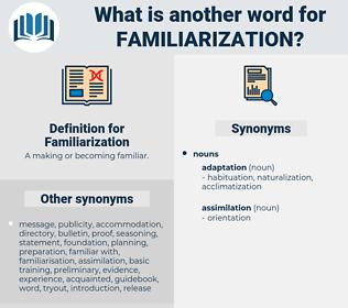 Familiarization, synonym Familiarization, another word for Familiarization, words like Familiarization, thesaurus Familiarization