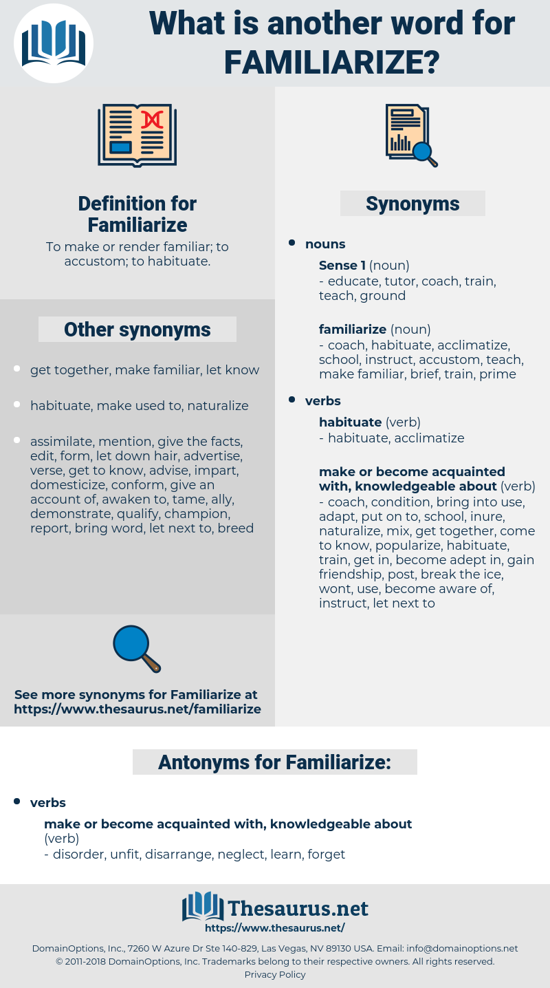 Familiarize, synonym Familiarize, another word for Familiarize, words like Familiarize, thesaurus Familiarize