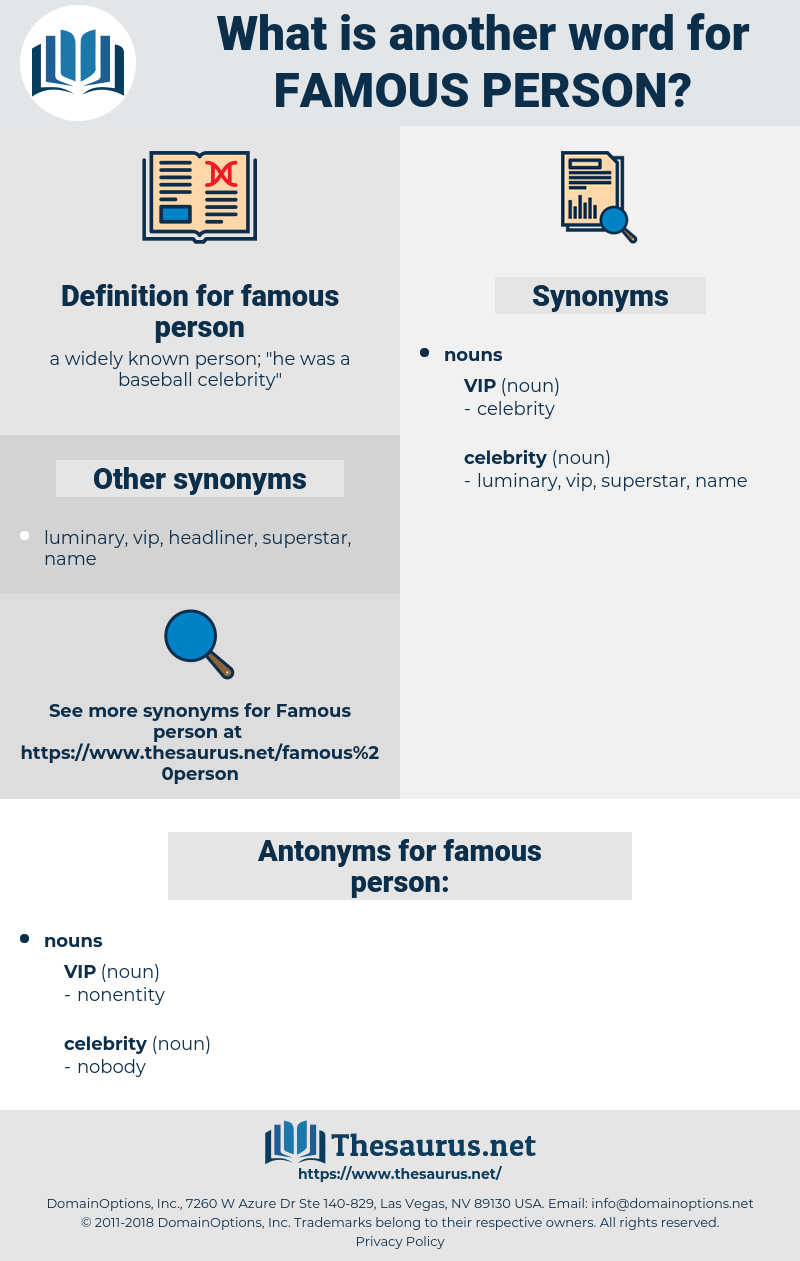 famous person, synonym famous person, another word for famous person, words like famous person, thesaurus famous person