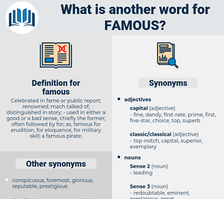 famous, synonym famous, another word for famous, words like famous, thesaurus famous