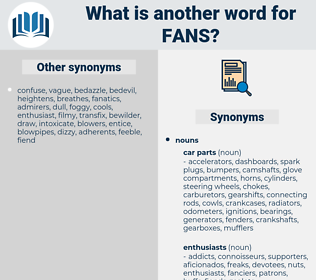 fans, synonym fans, another word for fans, words like fans, thesaurus fans