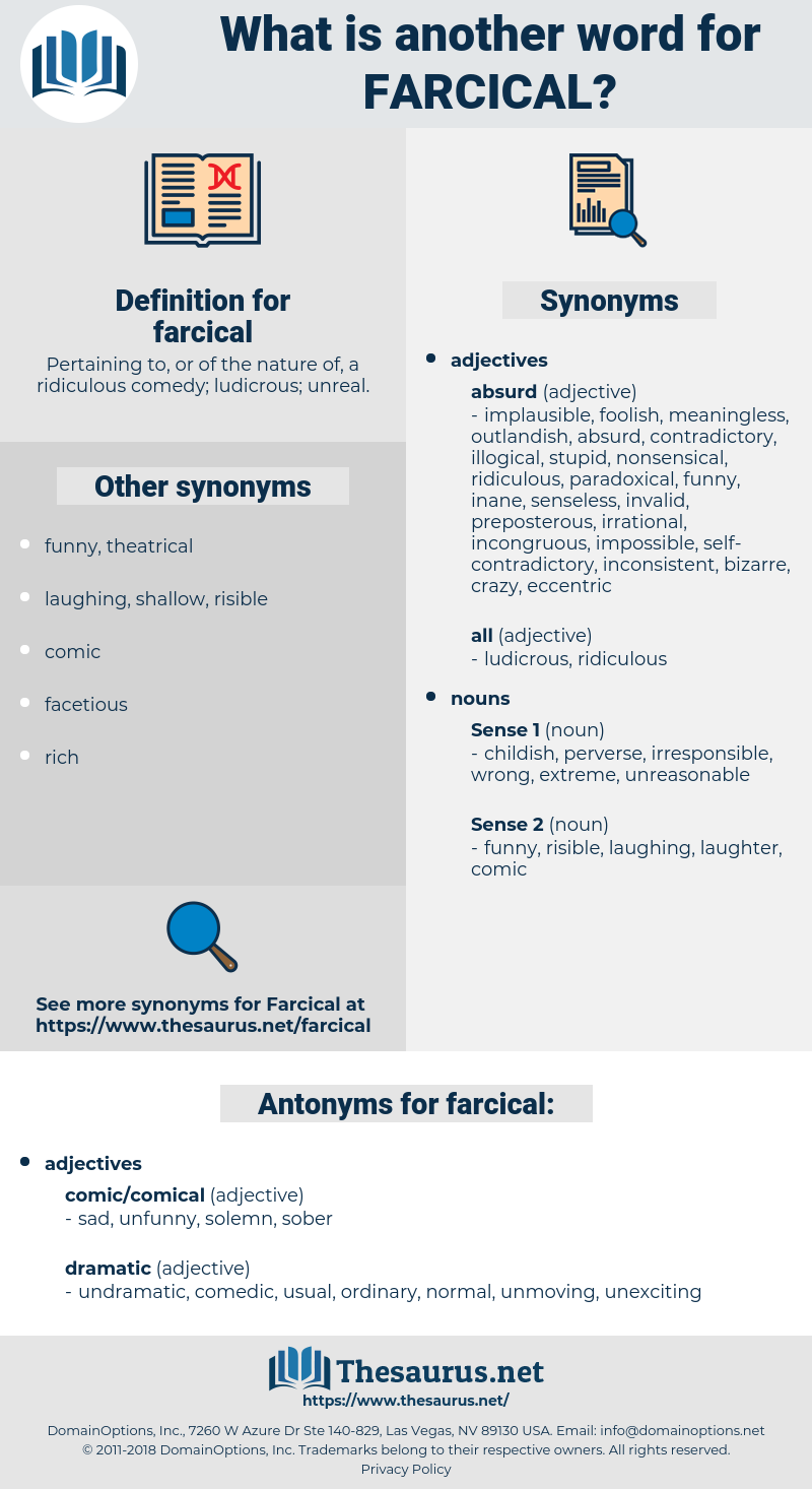 farcical, synonym farcical, another word for farcical, words like farcical, thesaurus farcical