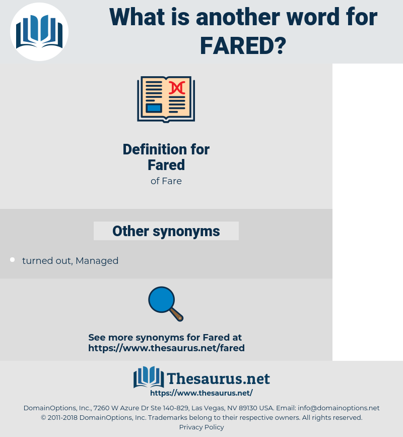 Fared, synonym Fared, another word for Fared, words like Fared, thesaurus Fared