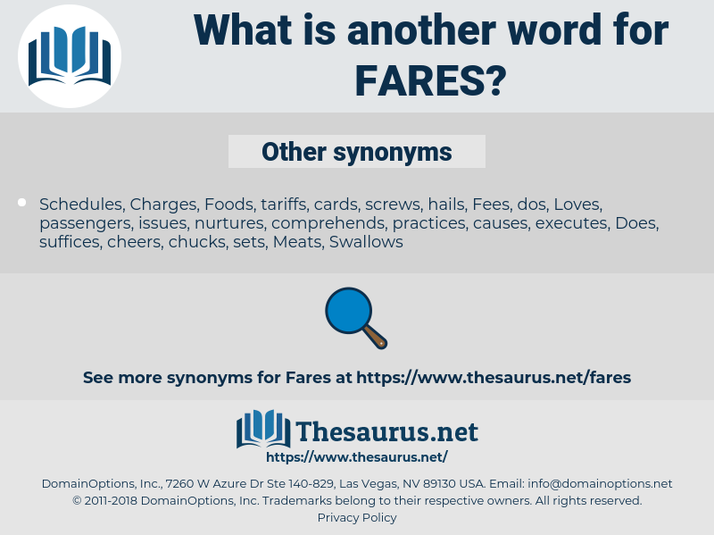 FARES, synonym FARES, another word for FARES, words like FARES, thesaurus FARES