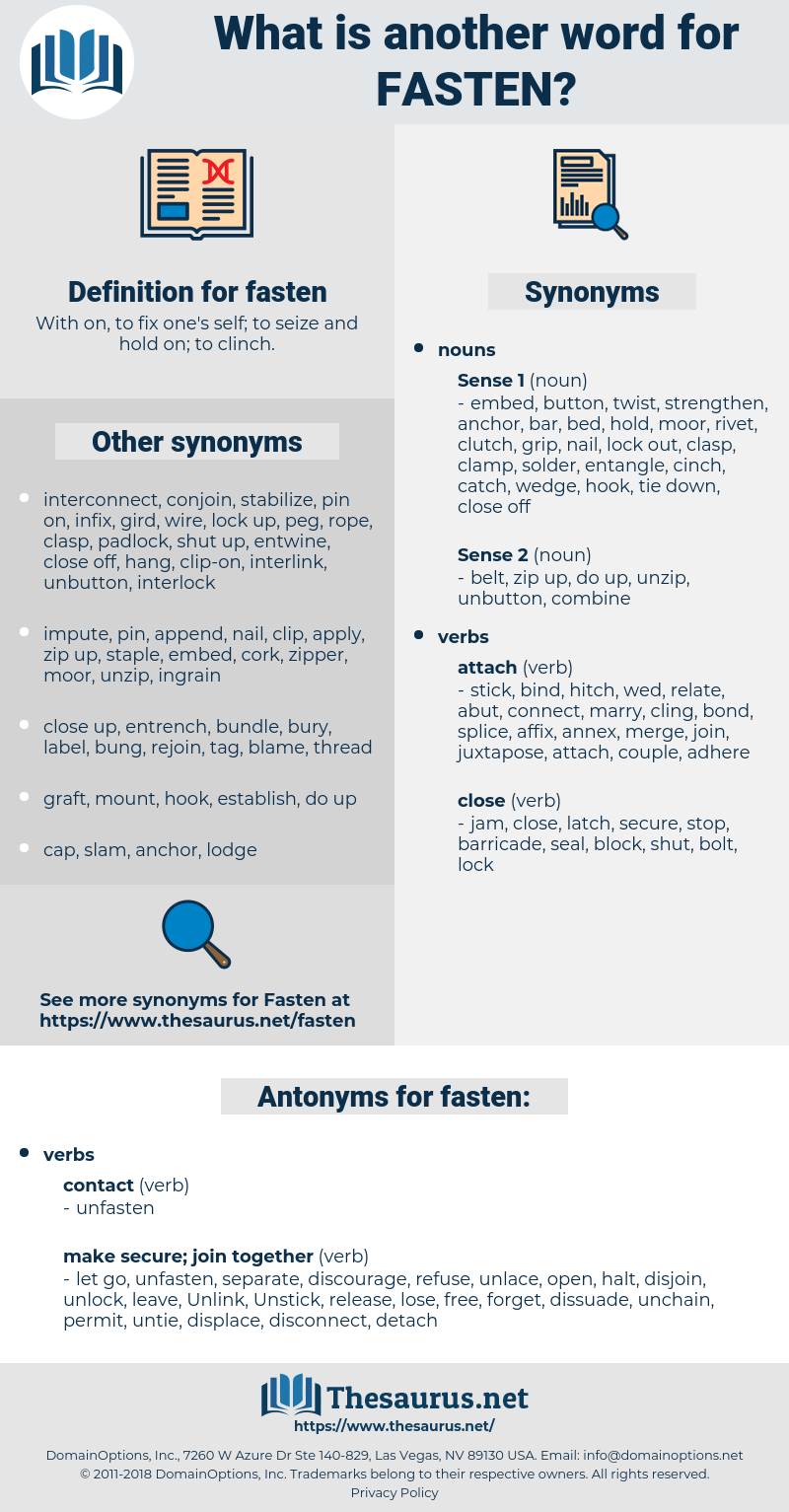 fasten, synonym fasten, another word for fasten, words like fasten, thesaurus fasten