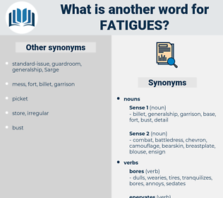 fatigues, synonym fatigues, another word for fatigues, words like fatigues, thesaurus fatigues