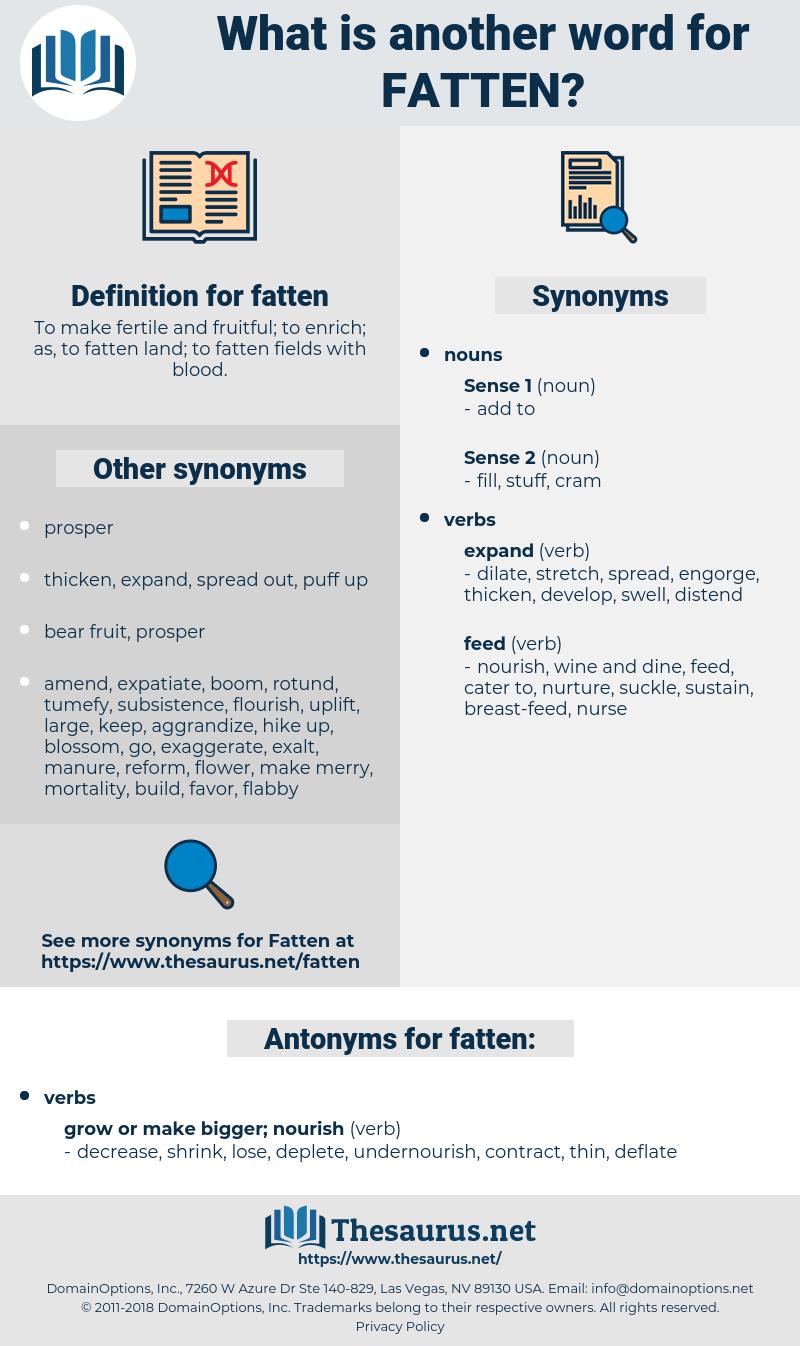 fatten, synonym fatten, another word for fatten, words like fatten, thesaurus fatten