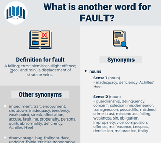 fault, synonym fault, another word for fault, words like fault, thesaurus fault