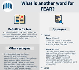 fear, synonym fear, another word for fear, words like fear, thesaurus fear