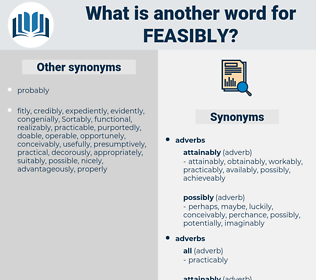 feasibly, synonym feasibly, another word for feasibly, words like feasibly, thesaurus feasibly