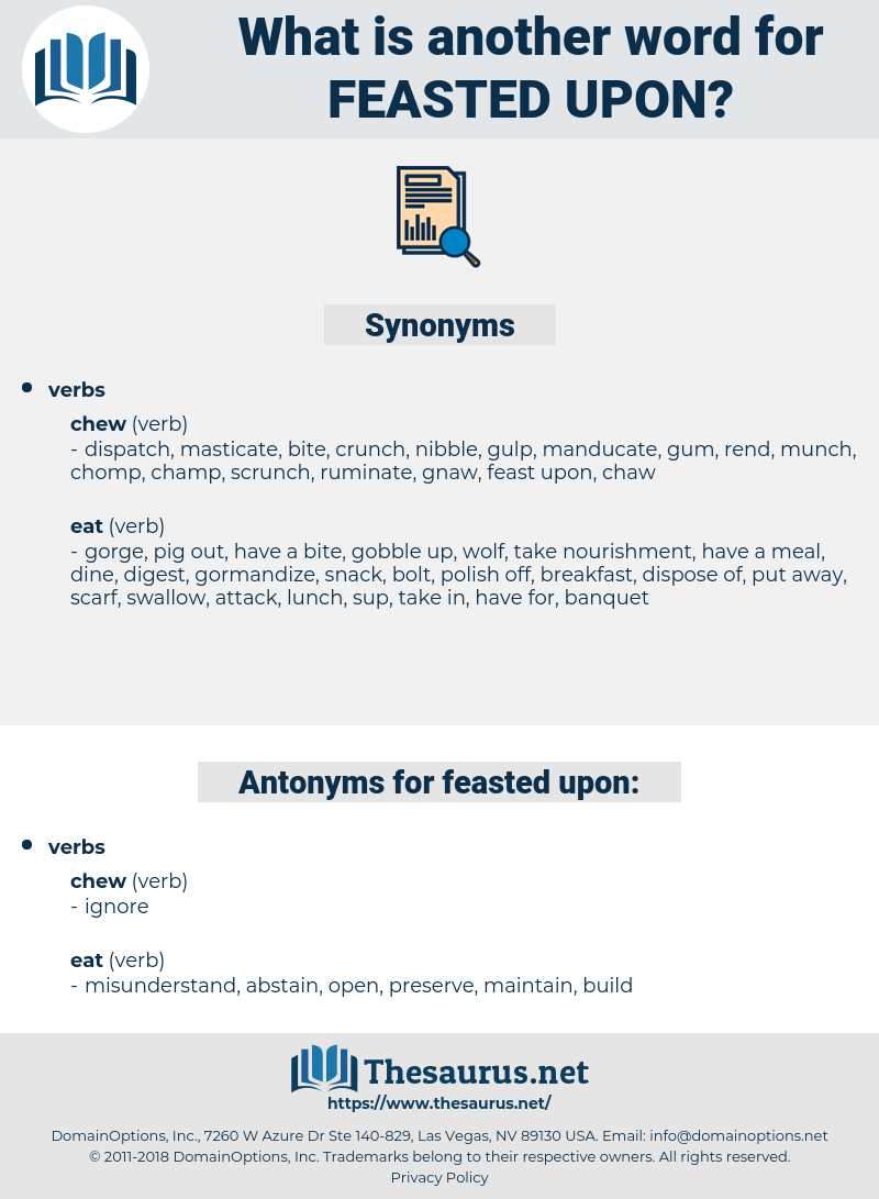 feasted upon, synonym feasted upon, another word for feasted upon, words like feasted upon, thesaurus feasted upon