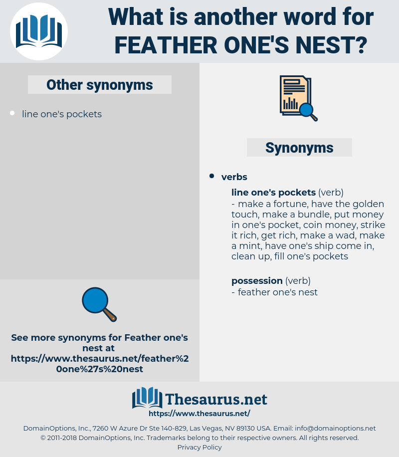 feather one's nest, synonym feather one's nest, another word for feather one's nest, words like feather one's nest, thesaurus feather one's nest