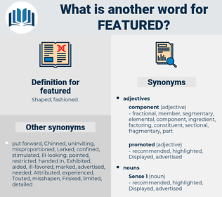 featured, synonym featured, another word for featured, words like featured, thesaurus featured