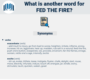 fed the fire, synonym fed the fire, another word for fed the fire, words like fed the fire, thesaurus fed the fire
