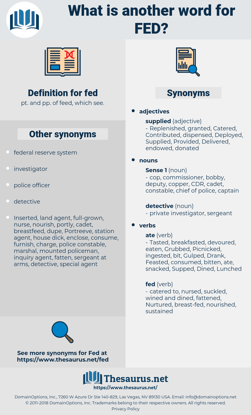 fed, synonym fed, another word for fed, words like fed, thesaurus fed