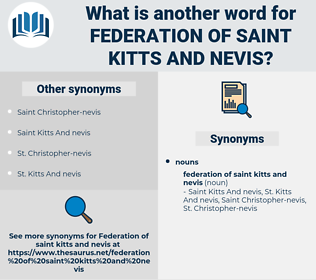 Federation Of Saint Kitts and Nevis, synonym Federation Of Saint Kitts and Nevis, another word for Federation Of Saint Kitts and Nevis, words like Federation Of Saint Kitts and Nevis, thesaurus Federation Of Saint Kitts and Nevis