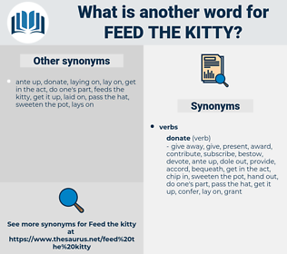 feed the kitty, synonym feed the kitty, another word for feed the kitty, words like feed the kitty, thesaurus feed the kitty